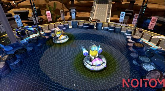 Screen grab of virtual reality bumper cars by Noitom.