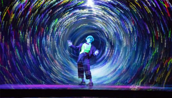 Media Clown performs traditional clown routines integrated with digital art driven by Noitom motion capture.